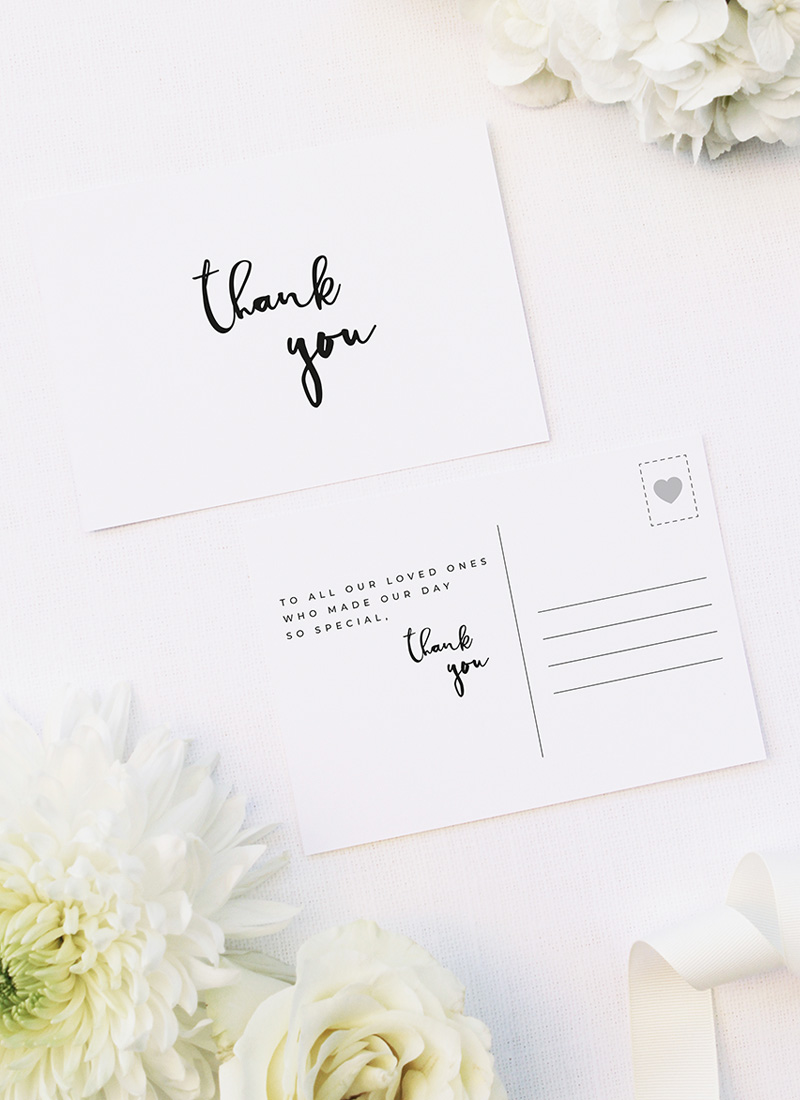 Loose Free Cursive Writing Modern Minimal Wedding Thank You Postcards Loose Free Cursive Writing Modern Minimal Wedding Invitations