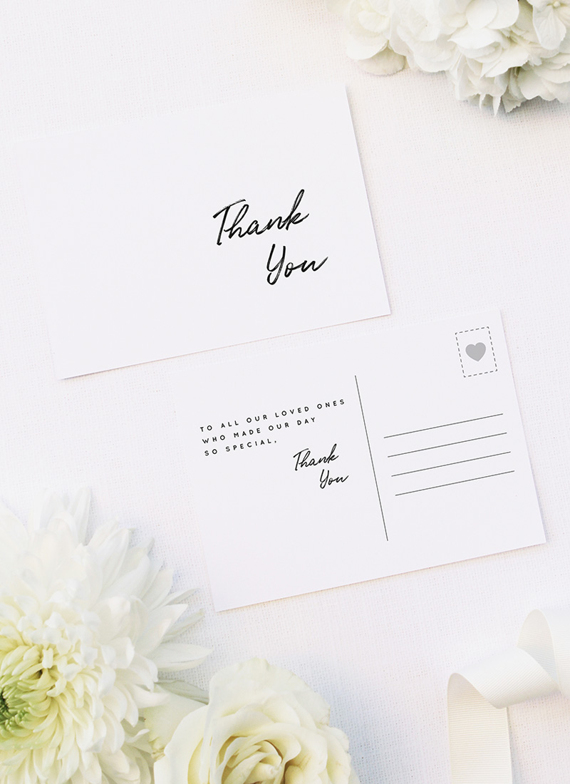 Elegant Brush Script Writing Modern Minimal Wedding Thank You Postcards Elegant Brush Script Writing Modern Minimal Wedding Invitations