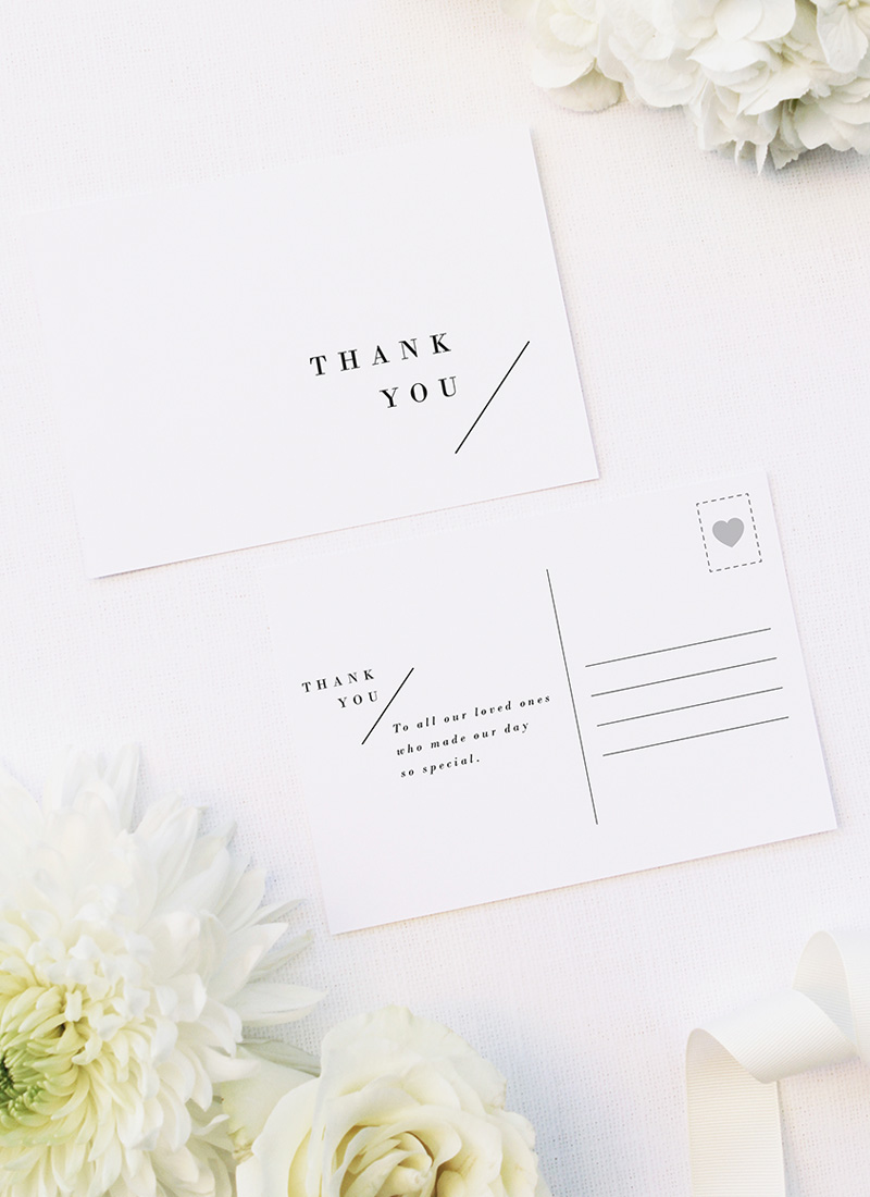 Classy Minimal Layout Feature Line Wedding Thank You Postcards Classy Minimal Layout Feature Line Wedding Invitations