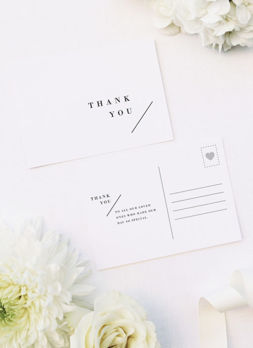 Large Bold Capital Letters Feature Names Wedding Thank You Postcards Large Bold Capital Letters Feature Names Wedding Invitations