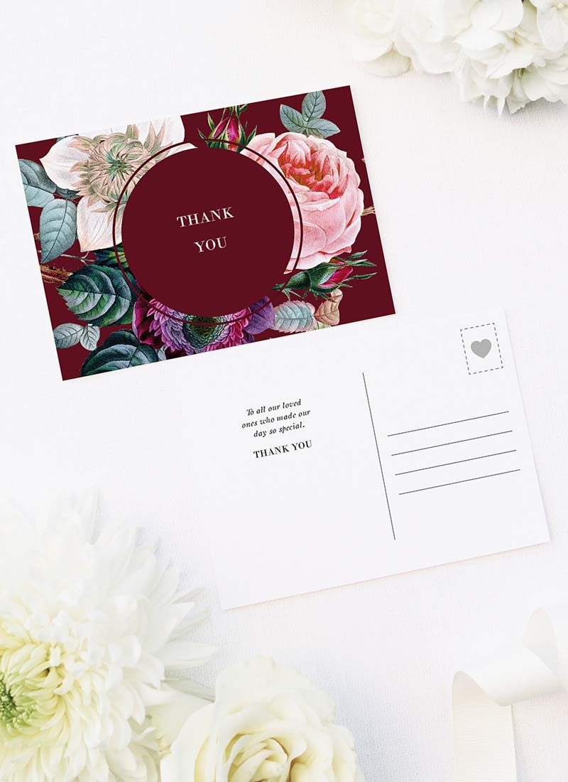 Red Burgundy Rose Floral Wedding Thank You Postcards Red Burgundy Rose Floral Wedding Invitations