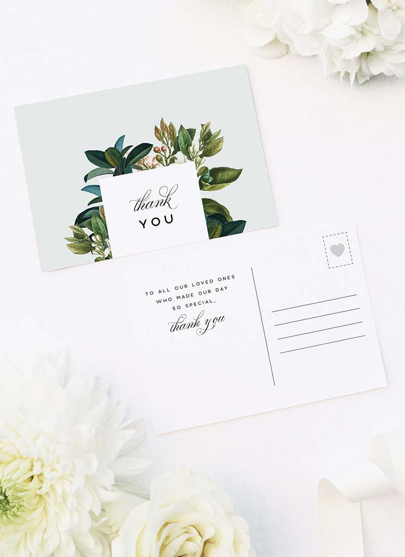 Classy Elegant Botanical Wedding Thank You Postcards Classy Elegant Botanical Wedding Invitations