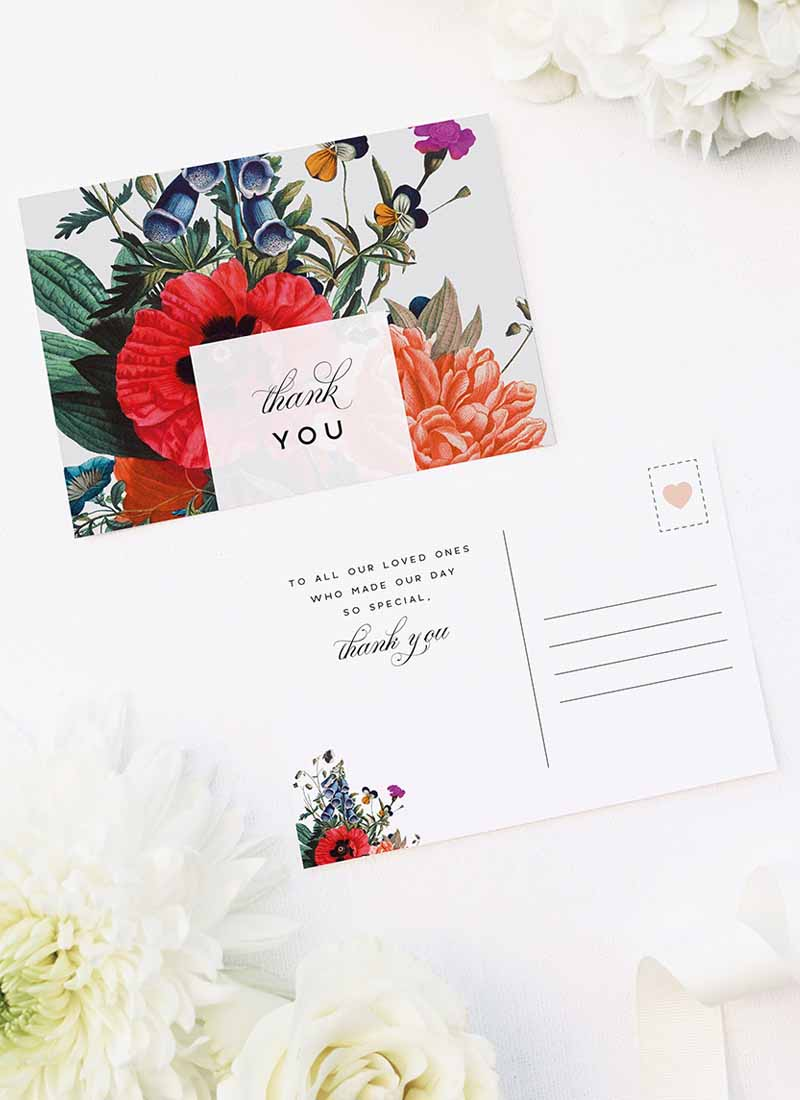 Stunning Floral Bouquet Wedding Thank You Postcards Stunning Floral Bouquet Wedding Invitations
