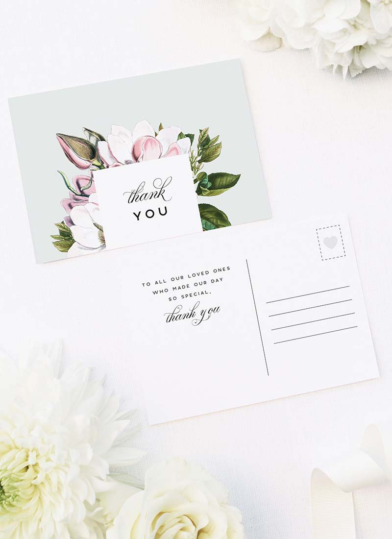 Elegant Magnolia Flower Wedding Thank You Postcards Elegant Magnolia Flower Wedding Invitations - Pale Pink Blue Green Florals