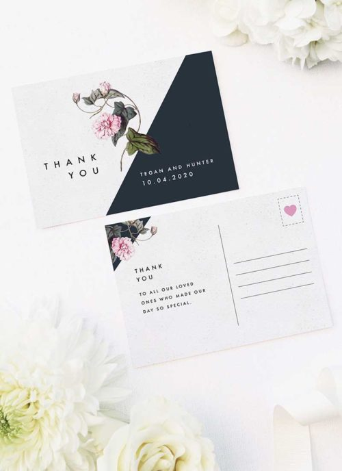Contemporary Geometric Botanical Wedding Thank You Postcards Contemporary Geometric Botanical Wedding Invitations Black and White Edgy Striking Layout Modern Flower Pink Floral Bloom