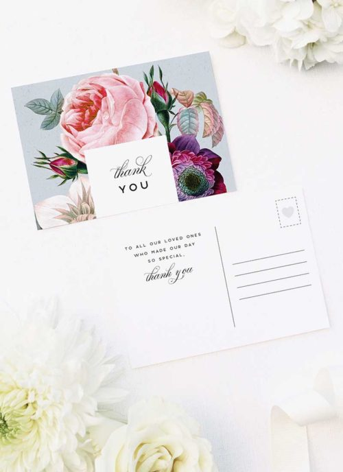 Elegant Rose Bouquet Floral Wedding Thank You Postcards Elegant Rose Bouquet Floral Wedding Invitations