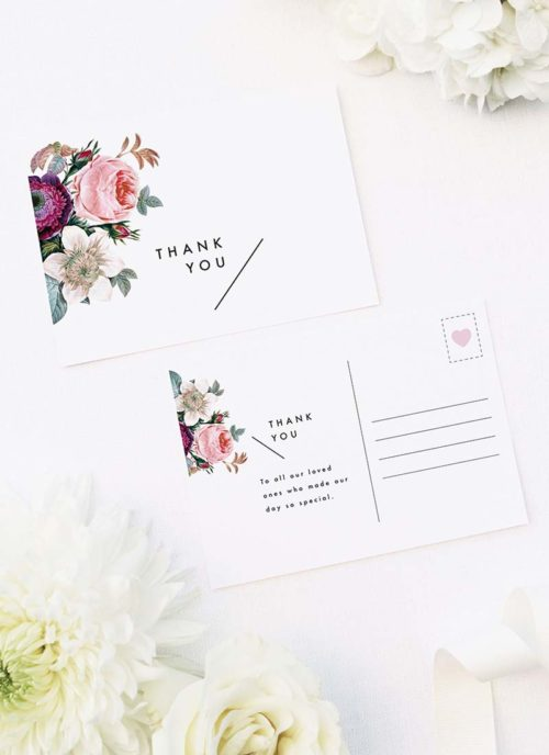 Modern Minimal Floral Rose Wedding Thank You Postcards Modern Minimal Floral Rose Wedding Invitations