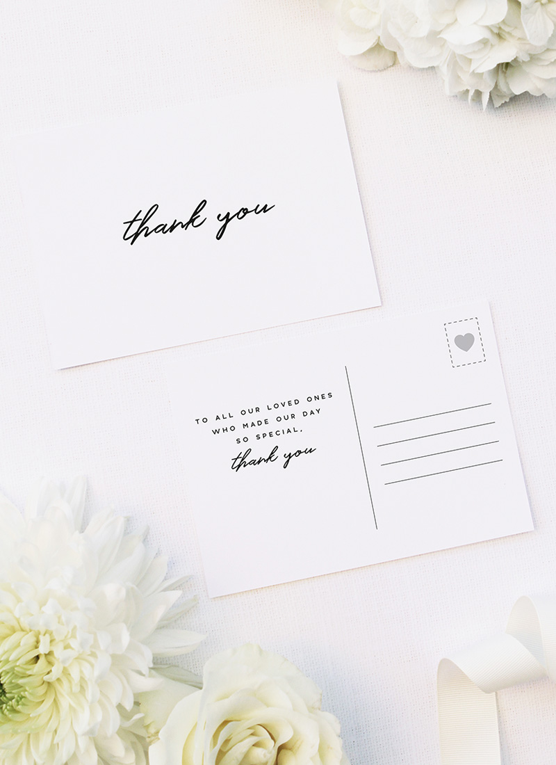 Modern Minimal Cursive Hand Brush Script Wedding Thank You Postcards Modern Minimal Cursive Hand Brush Script Wedding Invitations