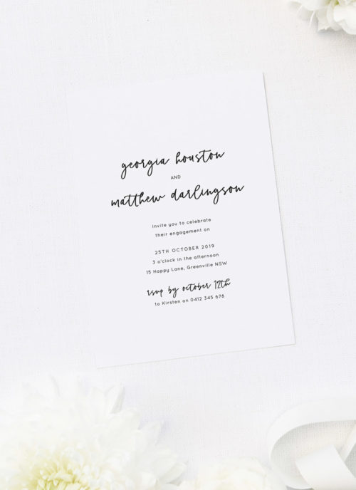 Pretty Cursive Script Font Engagement Invitations