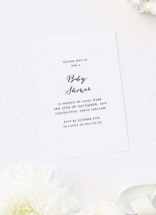 Simple Elegant Baby Shower Invites