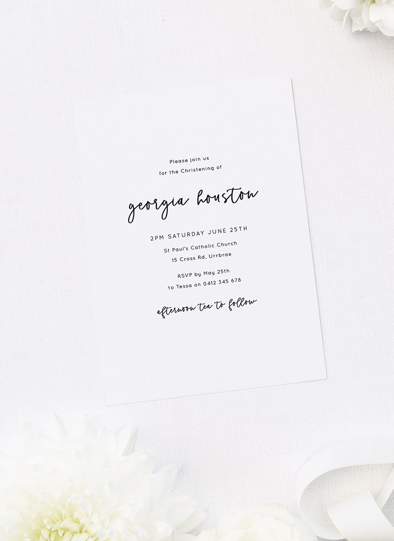 Pretty Cursive White Christening Invitations
