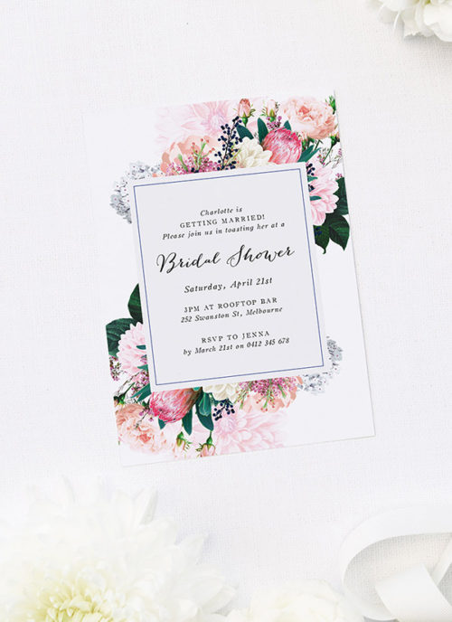 Pretty Protea Native Floral Bridal Shower Invitations