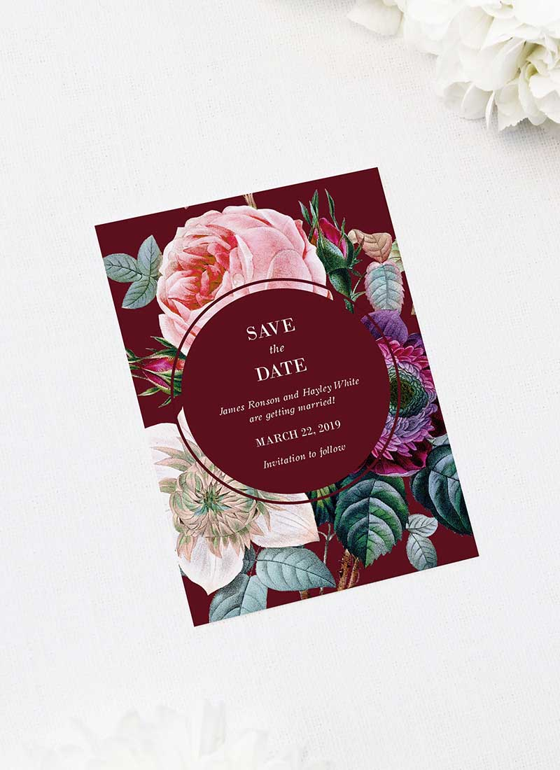Red Burgundy Rose Floral Save the Dates Red Burgundy Rose Floral Wedding Invitations