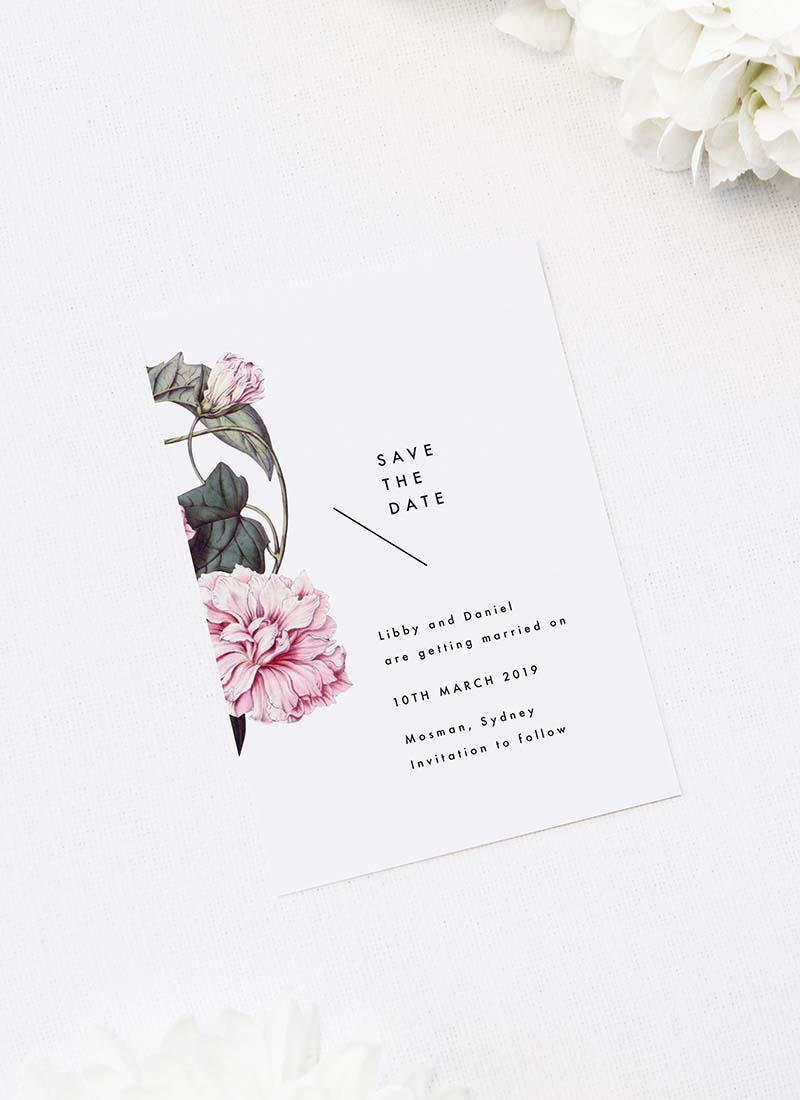 Lush Flower Botanical Vine Save the Dates Lush Flower Botanical Vine Wedding Invitations