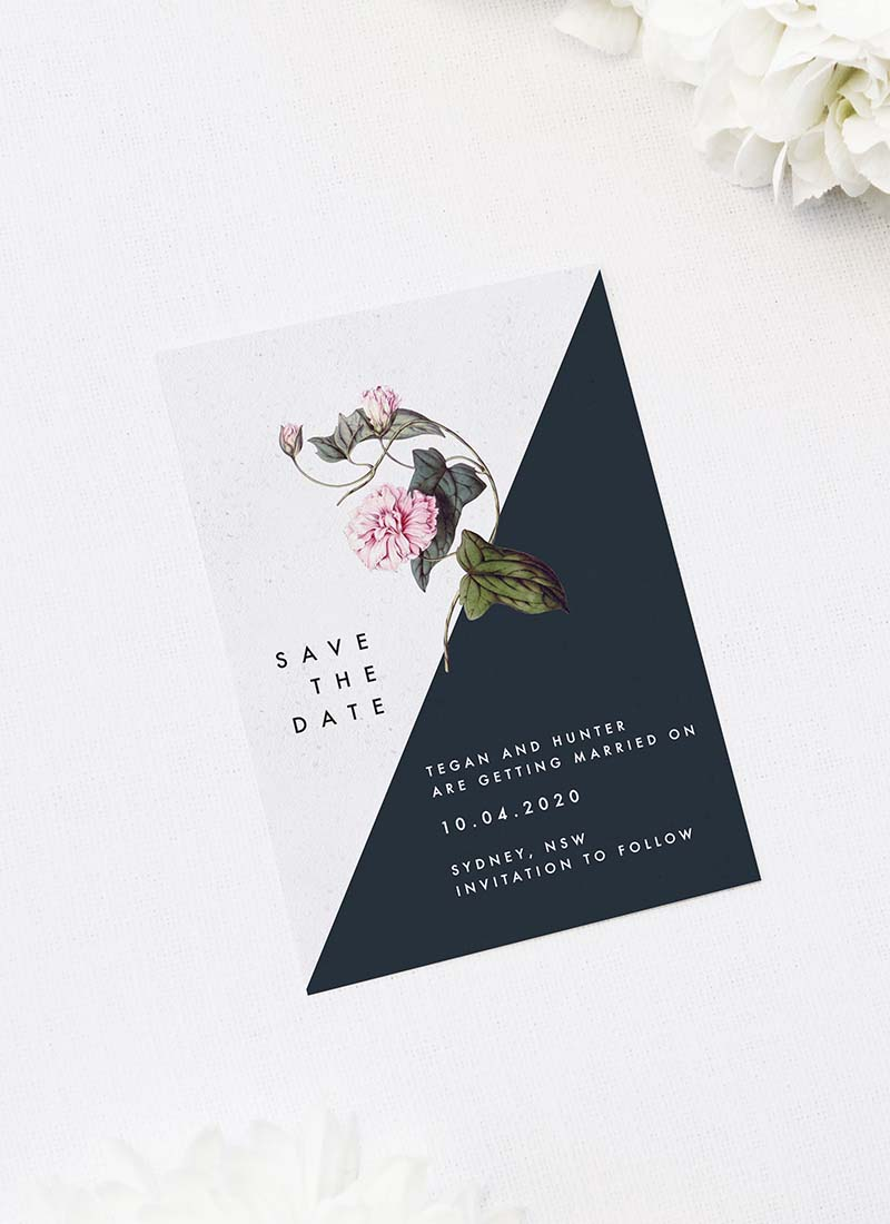 Contemporary Geometric Botanical Save the Dates Contemporary Geometric Botanical Wedding Invitations Black and White Edgy Striking Layout Modern Flower Pink Floral Bloom