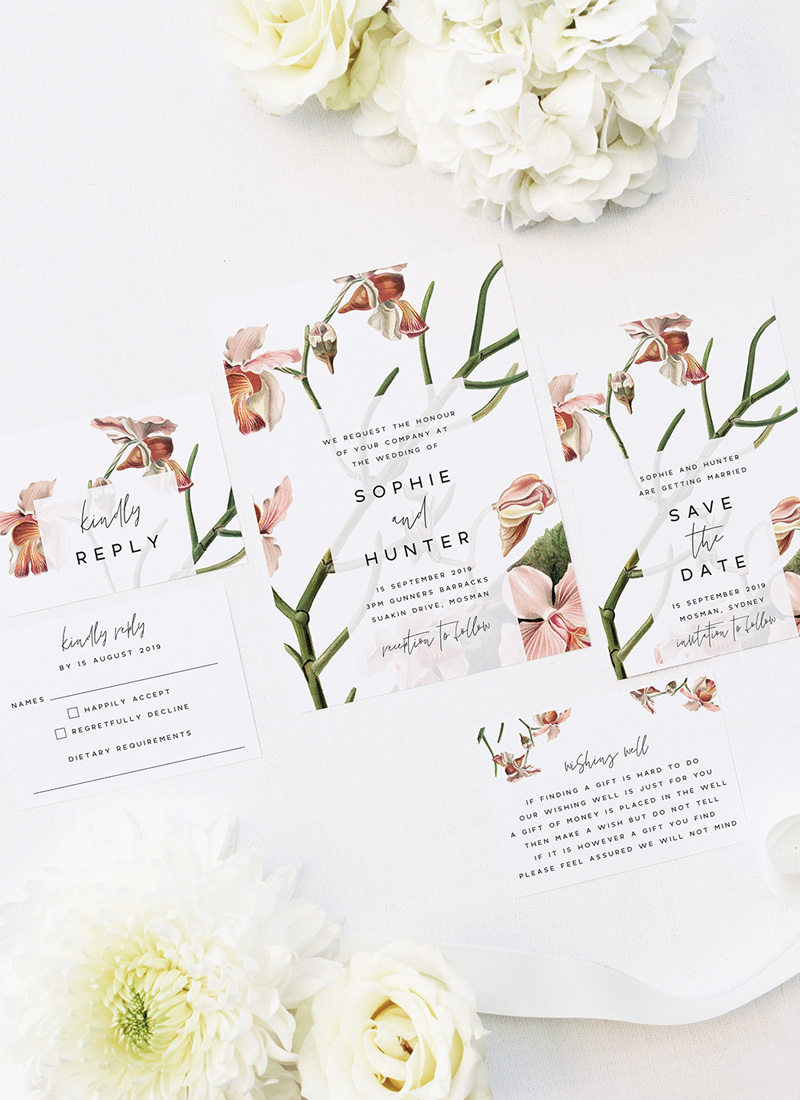 Orchid Flower Wedding Invitations - Peach Pink Orchid Flowers