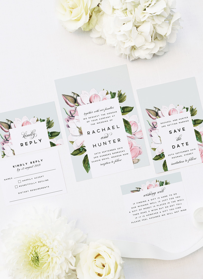 Elegant Magnolia Flower Wedding Invitations - Pale Pink Blue Green Florals