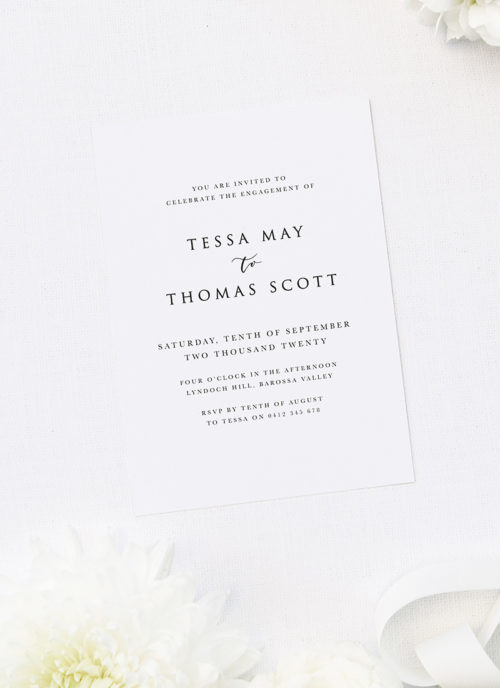Simple Classy Minimal Classic Centred Engagement Invitations