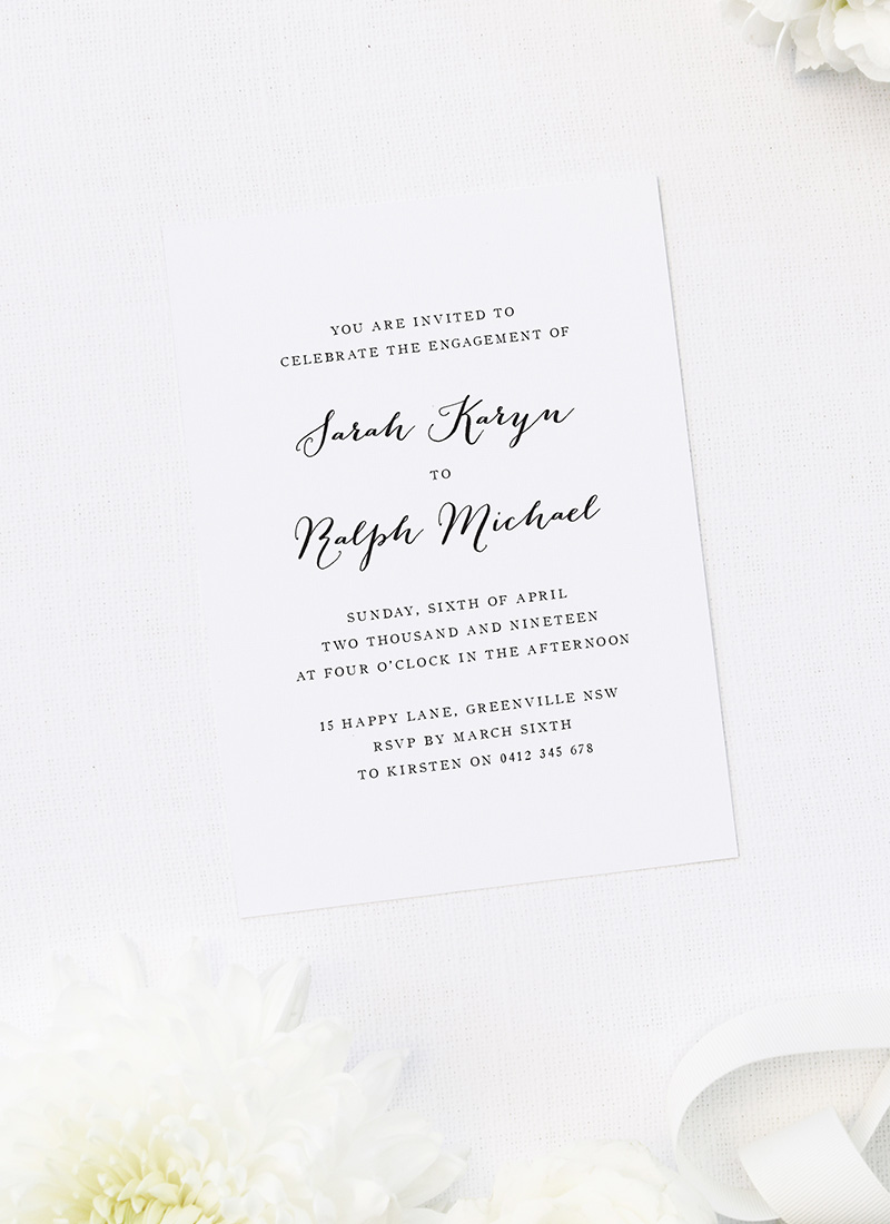 Simple Pretty Cursive Writing Engagement Invitations