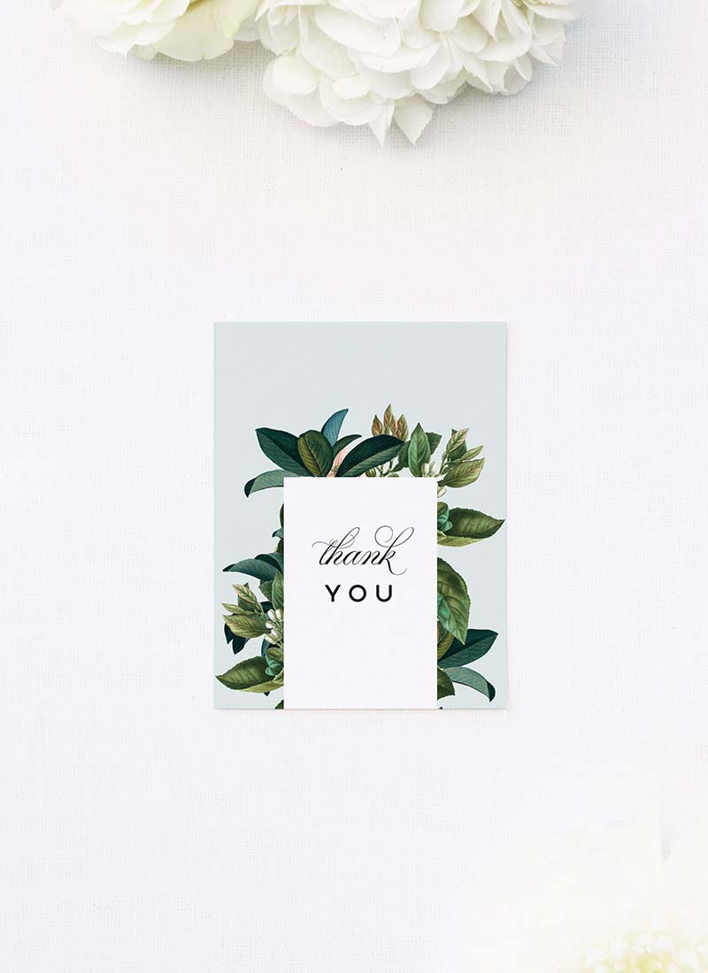 Classy Elegant Botanical Wedding Thank You Cards Classy Elegant Botanical Wedding Invitations