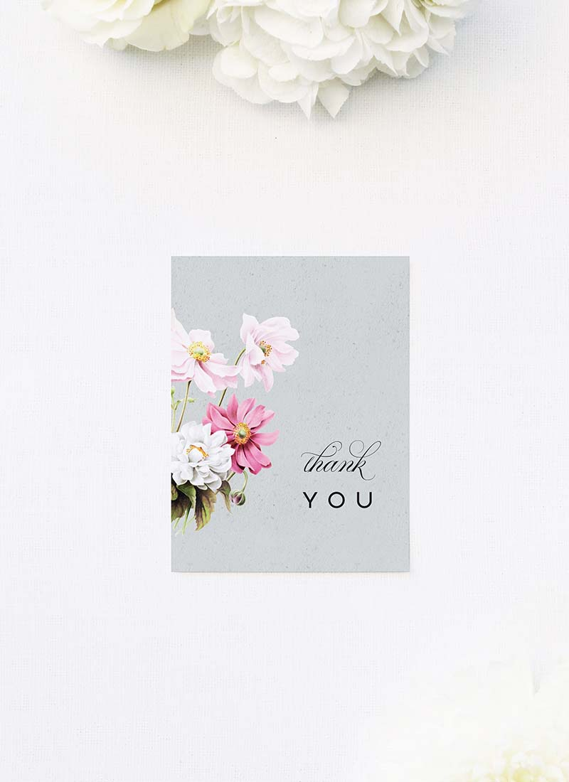 Elegant Grey Floral Wedding Thank You Cards Elegant Grey Floral Wedding Invitations