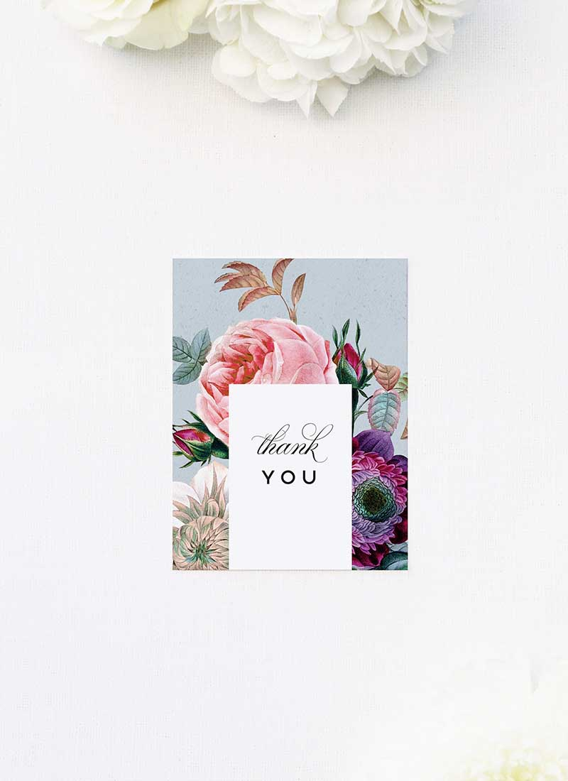 Elegant Rose Bouquet Floral Wedding Thank You Cards Elegant Rose Bouquet Floral Wedding Invitations