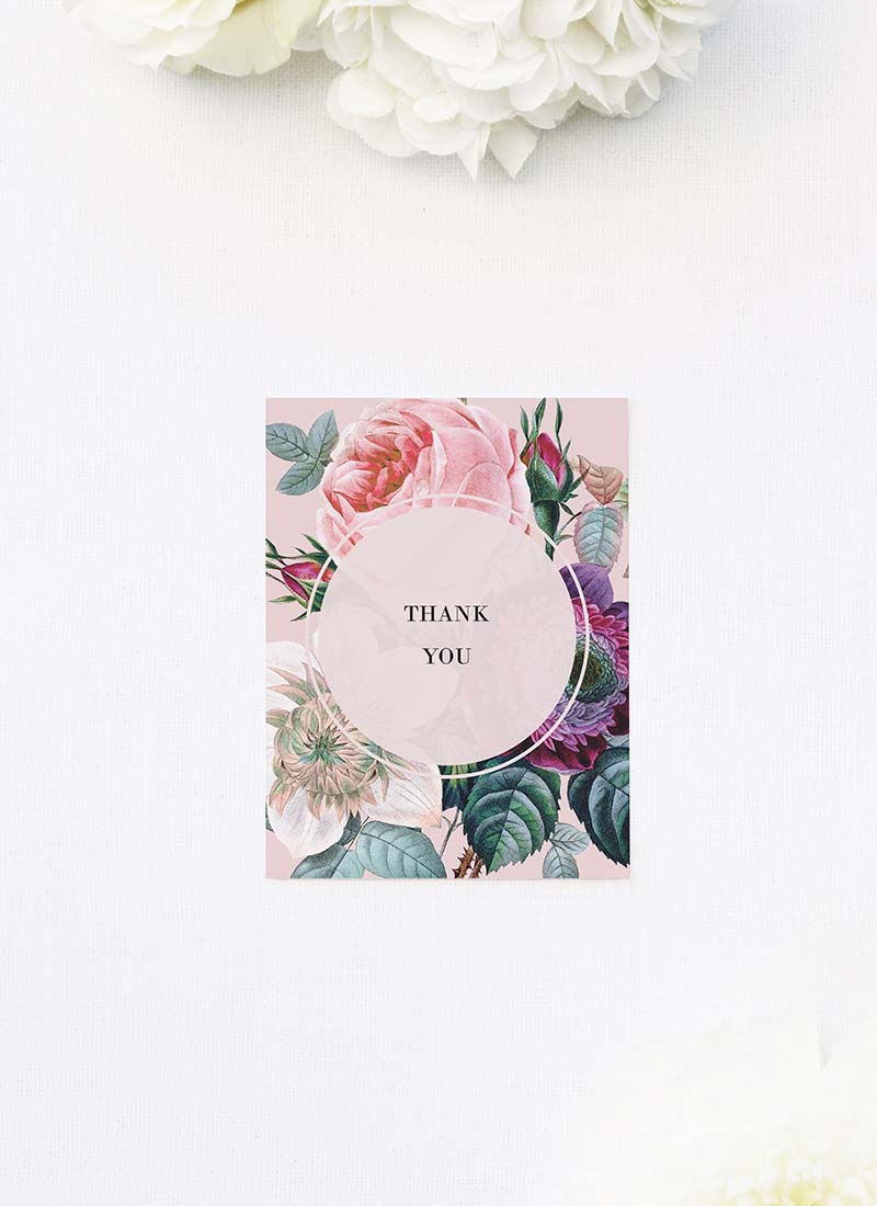 Blush Pink Rose Floral Bouquet Wedding Thank You Cards Blush Pink Rose Floral Bouquet Wedding Invitations