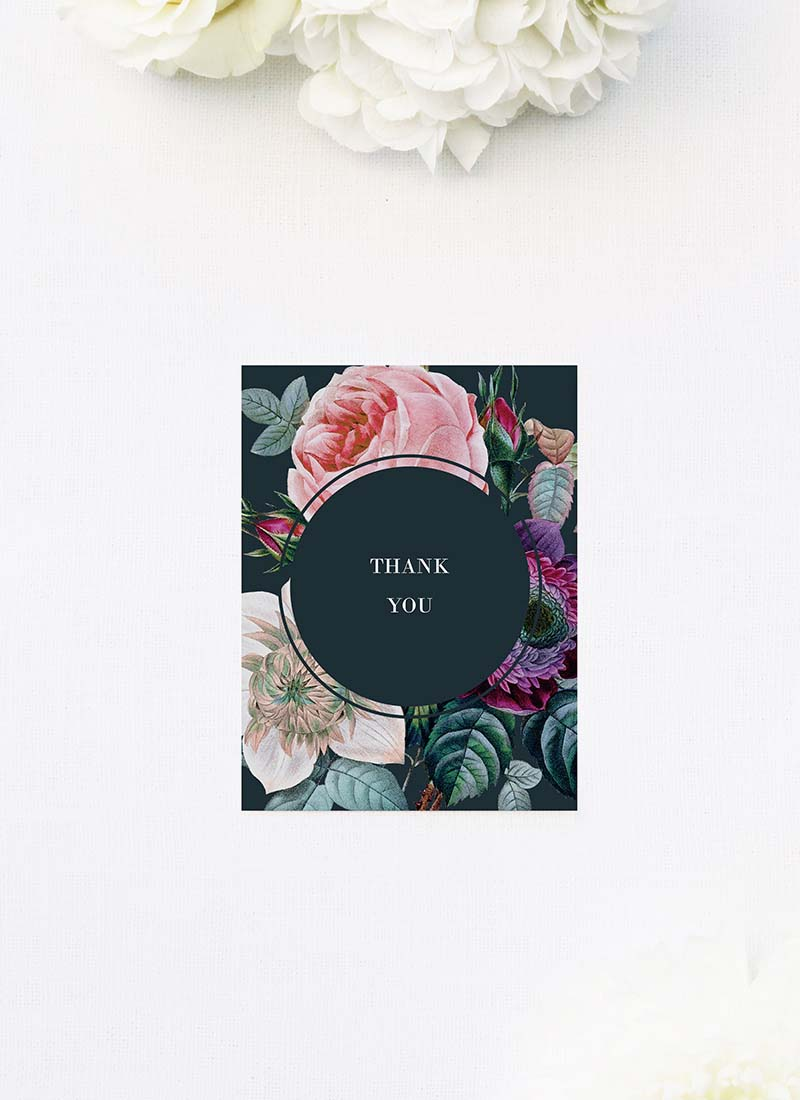 Dark Moody Floral Wedding Thank You Cards Dark Moody Floral Wedding Invitations