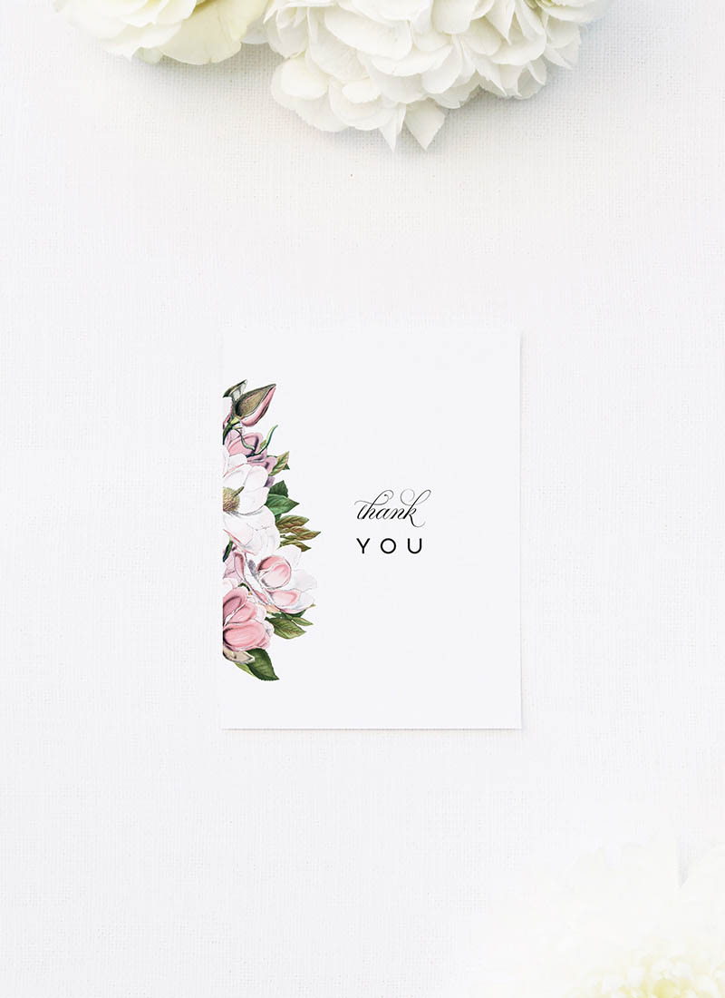 Elegant Magnolia Flowers Wedding Thank You Cards Elegant Magnolia Flowers Wedding Invitations Pink Florals green Leaves Classic Elegant Writing Simple Beautiful