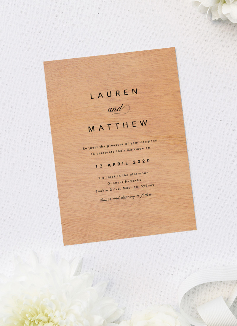 Beautiful Elegant Classic Wooden Wedding Invitations