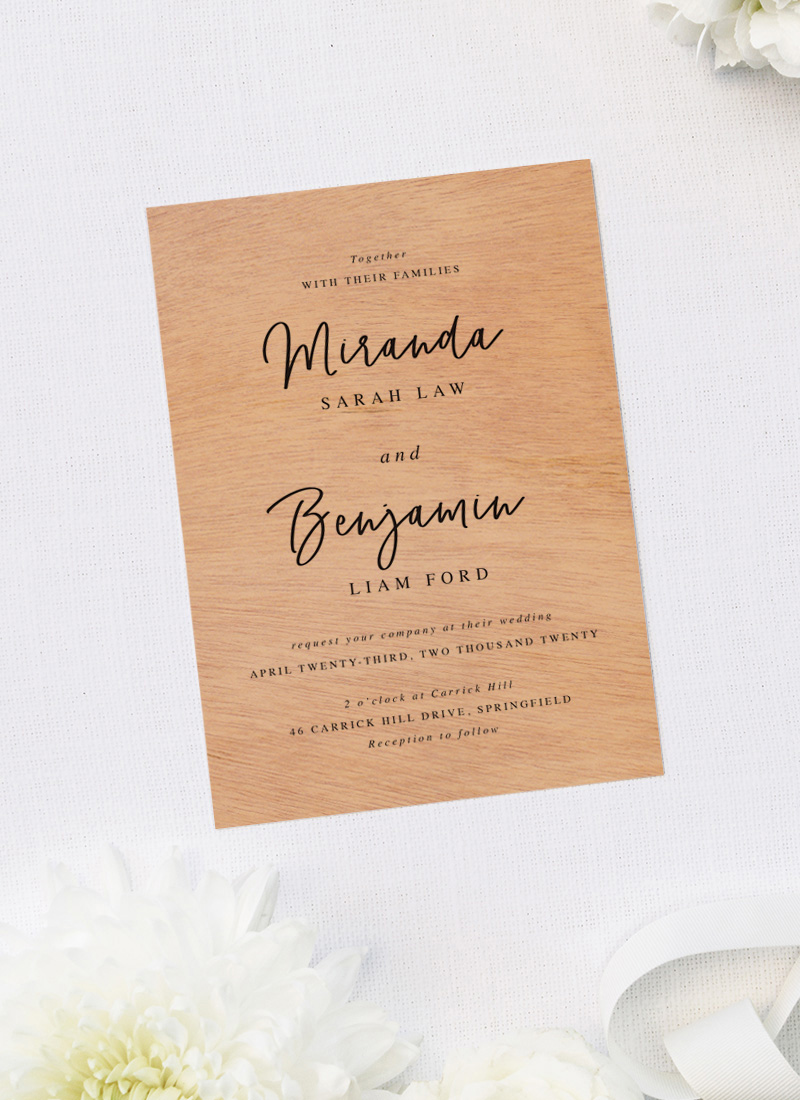 Flowy Elegant Romantic Cursive Script Font Wooden Wedding Invitations