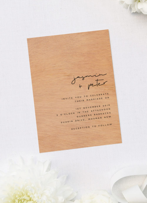Contemporary Chic Luxe Minimal Modern Wooden Wedding Invitations