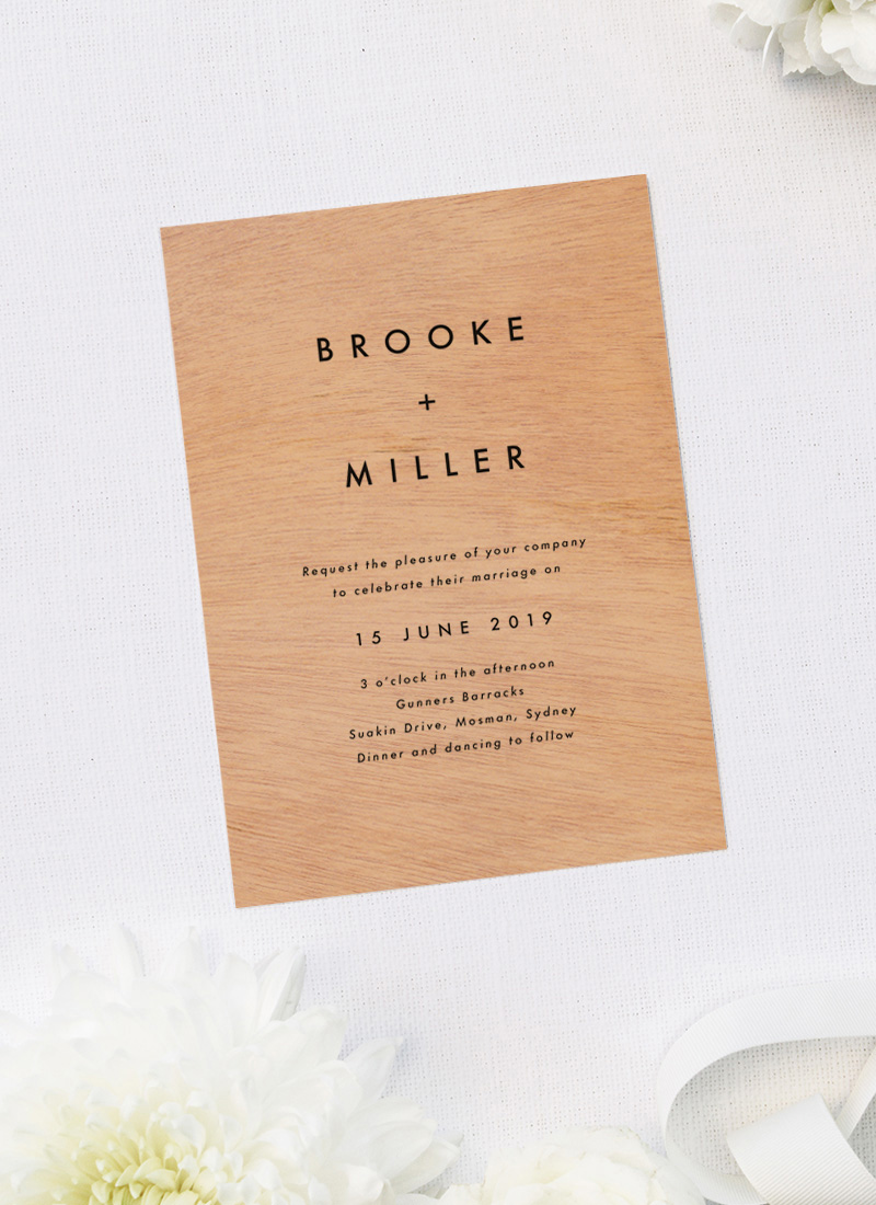 Simple Minimal Modern Wooden Wedding Invitations