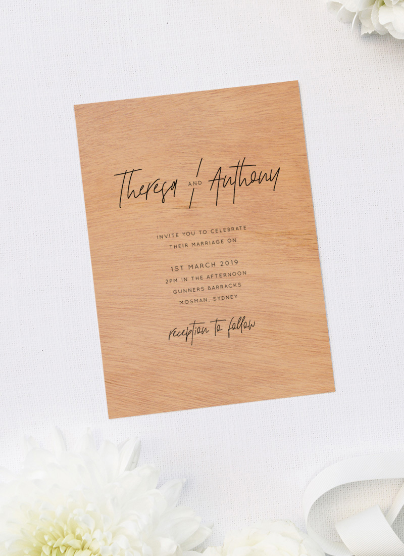 Modern Text Contemporary Wooden Wedding Invitations