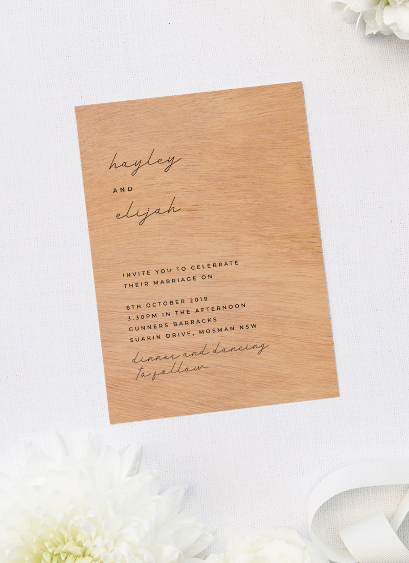 Modern Font Writing Minimal Simple Wooden Wedding Invitations