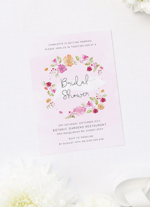 Watercolour Floral Wreath Bridal Shower Invitations