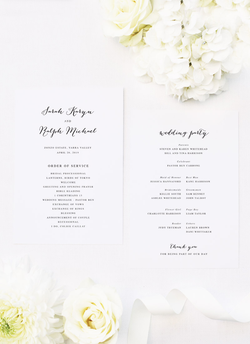Clean Pretty Calligraphy Script Wedding Ceremony Programs