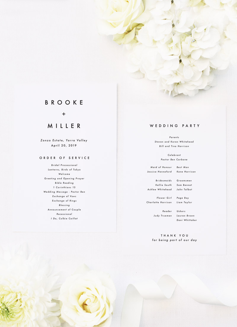 Bold Capital Text Simple Minimal Wedding Ceremony Programs