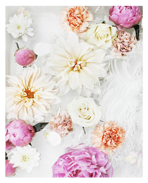 Colourful Floral Art Print -Floral Wall Art with Pink Peonies White Dahlias Orange Flowers