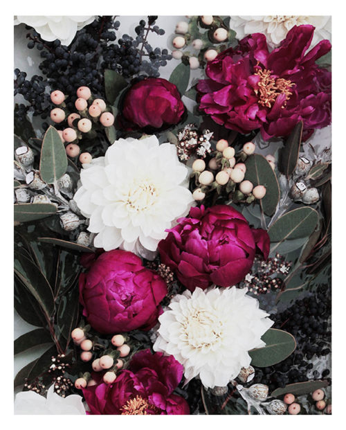 Faded Floral Photographic Wall Art - Faded Floral Photographic Art Print - Faded Pink Peony Flowers with Green Leaves