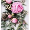 Peony Flower Art Print -Lilac Floral Wall Art withPink Peonies and Green Leaves