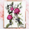 Fuchsia Peony Art Print - Floral Wall Print with Deep Pink Peonies and Native Green Leaves