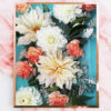 Colourful Floral Wall Art - Floral Art Print with Cream Dahlias, Yellow and Orange Flowers on a Blue Background