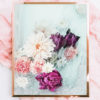 Floral Photographic Art Print - Floral Photographic Wall Art - Pink Fuchsia Peonies with White Dahlia Flowers