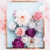 Floral Photo Art Print - Floral Photo Wall Art - Cream Dahlia, Pink Peony Flowers