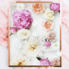 Colourful Flower Wall Art - Floral Art Print with Pink Peonies Cream White Orange Flowers
