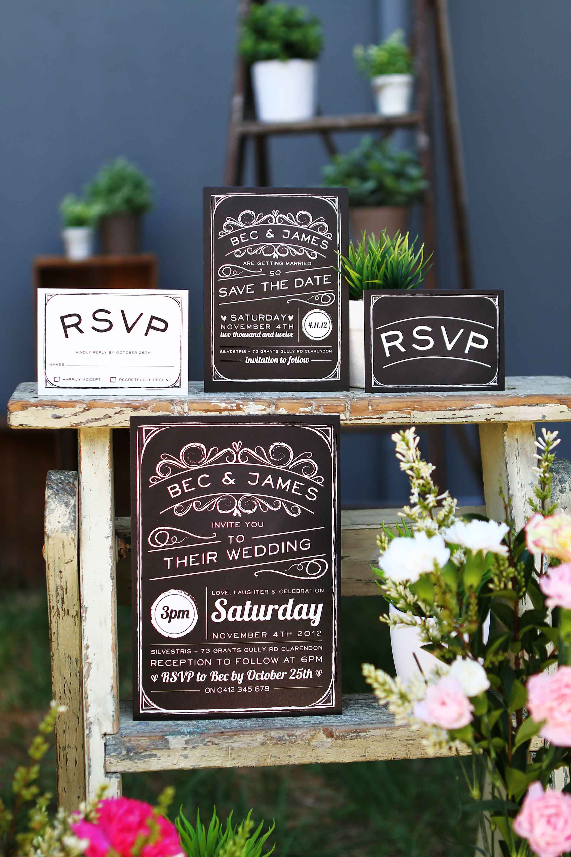 wedding stationery adelaide vintage chalkboard rustic