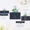 Green White Navy Modern Botanical Wedding Invites