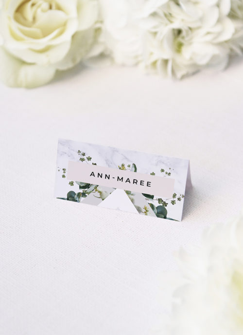 Natural Greenery Marble Botanical Wedding Name Place Cards Marble Green Leaves Modern Botanical Wedding Invitations