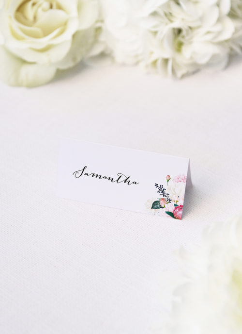 Pretty Protea Native Floral Wedding Name Place Cards Native Floral Wedding Invitations - Pretty Protea